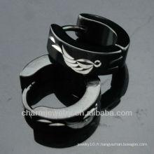 Vente en gros Bijoux à la mode Boucles d'oreilles Huggie Acier inoxydable Boucles d'oreilles noires HE-103