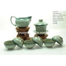 Tang Cao (diseño de la flor de la dinastía Tang) Teaware establece-1 Gaiwan, 1 Pitcher y 6 tazas
