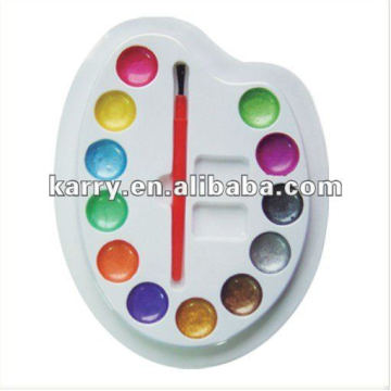 12 COLORS METALLIC WATER COLOR DAMP DRY WITH A PAINTBRUSH AND PALETTE NON-TOXIC