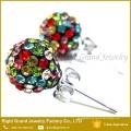 Nueva moda de cristal colorido pavimentado shamballa oreja Studs encantos pendientes