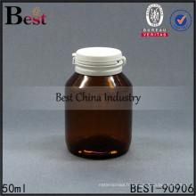 ambre 50 ml pilule bouteille médical bouteilles en verre large bouche snap cap échantillons gratuits