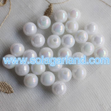 Wholesale 6-30MM Acrylic White Imitation Shellfish Beads Plastic Round AB Style Spacer Charms