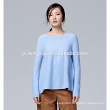 JS-11010 pure color long sleeve round neck merino wool women knitwear