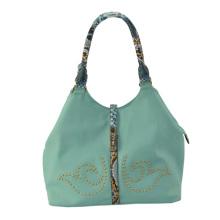 2015 Blue Ladies PU Handbag with Snake Print Handle