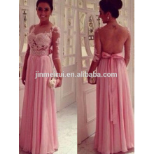 2014 Sheer Lace Top Crystal Beaded A-Line Floor-Length Chiffon Half Sleeves Pink Lace Prom Dresses