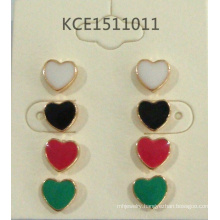 Colorful Set Heart Earrings with Metal