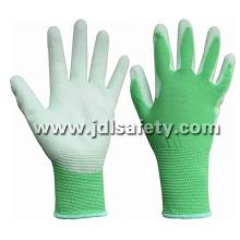 Green Nylon Work Glove with PU Palm Coated (PN8004G)