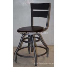 винтажный промышленных стул вращающийся табурет мангового дерева круглое сидение