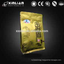 Alibaba hot sale square bottom bag for tea packaging with side eight side sealing