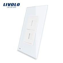 Prise américaine pour ordinateur et téléphone Livolo avec prise de courant murale en verre cristal blanc et verre cristal blanc VL-C591TC-11