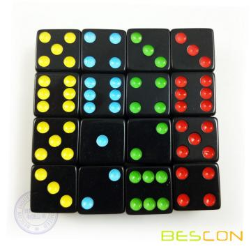 Black Six Sided Board Game Dice with Colorful Dots