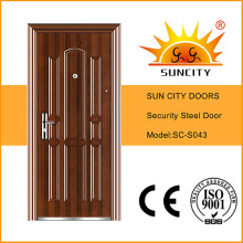 Diseño al por mayor de las puertas del solo hierro del precio bajo (SC-S043)