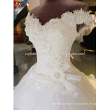 Vestidos De Noiva Real Luxury Full Pearls Cap Sleeves Puffy Lace Ball Gown 2017 Wedding Dresses MW976