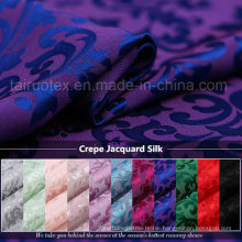 22mm Crepe Jacquard Silk with Reactive Dying for Silk Scarf