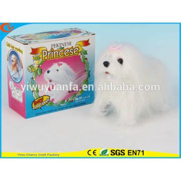 Новинка Дизайн Детские Игрушки Красочные Электрический Прогулки Пропустить Чучело Белой Собаки