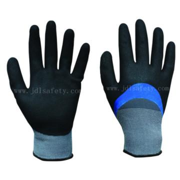 Luva de nitrilo azul totalmente revestimento e Sandy nitrilo 3/4 revestido na palma da mão (N1572)