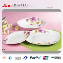 Dîner carré simple de conception de fleur en porcelaine pour l'usage à la maison