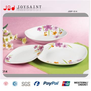 Cena cuadrada de diseño simple de flores en porcelana para uso doméstico