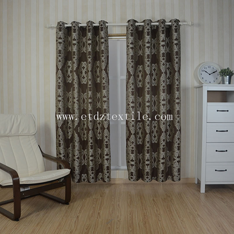 Embroidery Like Curtain Fabric Chocolate