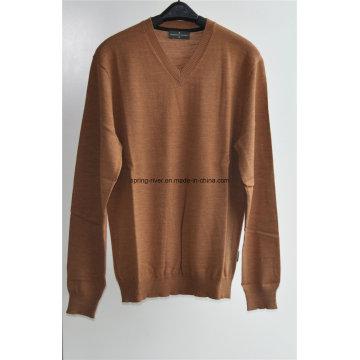 100% lana de cuello en V suéter jersey de punto hombres
