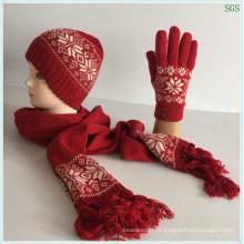 Faça Outono Vermelho Inverno Moda Quente Nova Máquina Do Círculo Jacquard Acrílico Lã Malha Chapéu Conjuntos De Lenço De Luva