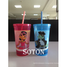 PP Drinking Cup with Lid Eco-Friendly Feature Reusable Ads Cups with Straws