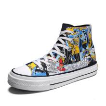 Sapatos casuais masculinos pintados à mão e tênis da moda do Batman