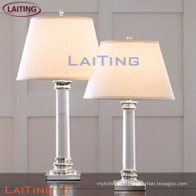 Popular bedroom table glass lamps european style desk lamp with white shade