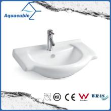 Lavatório de lavagem de mãos com lavatório de cerâmica com banheiro semi-embutido (ACB8255)