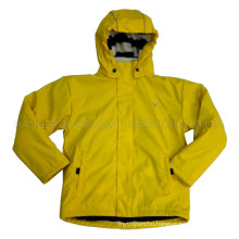 Solid Lemon Hooded Rain Jacket/Raincoat