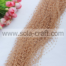 3mm light coffee color wire faux pearl beaded trimming with the length of 1.3m per strands