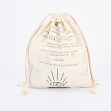 Recyclable Foldable ECO Friendly Cotton Gift Drawstring Pouch Bag Small Printing Shopping Canvas Cotton Gift Bag