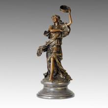 Dancer Statue Female and Drum Bronze Sculpture TPE-002