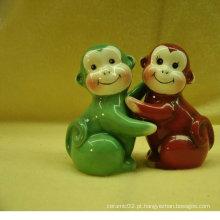 Cerâmica sal e pimenta shaker com design de macaco BS120726C