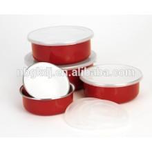 Juego de 5 platos de esmalte para alimentos con tapas PE y calcomanías rojas