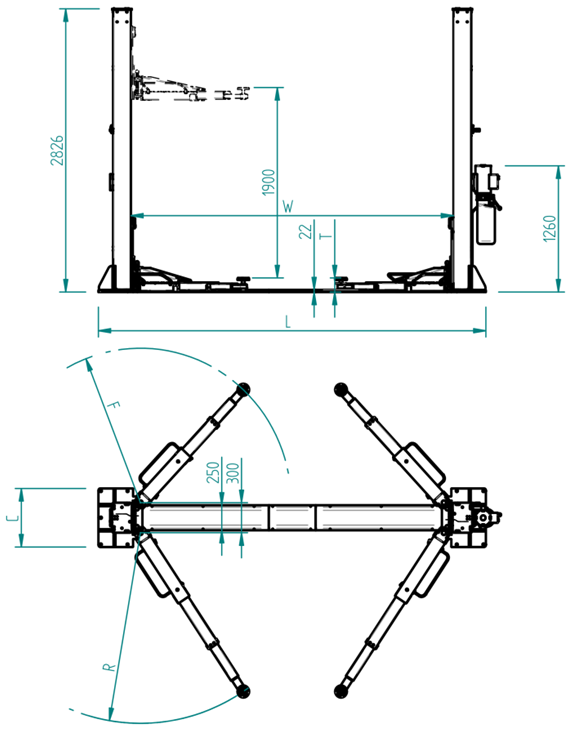 two post lift layout
