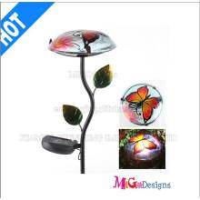 Poteaux de jardin en métal et verre solaire aux champignons