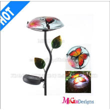 Garden Stake Metal and Glass Mushroom Solar Lights