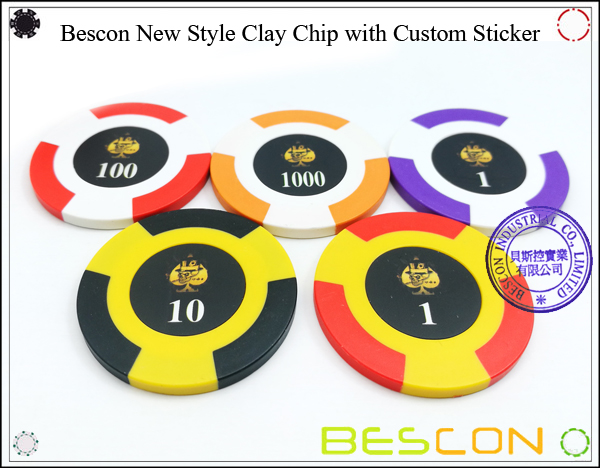Bescon New Style Clay Chip with Custom Sticker-7