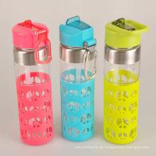 Ecológico, seguro, llevar, ciclismo, vidrio, agua, botella, silicón, manga