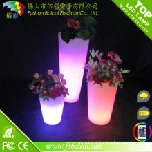 Cor de decoração de festa de evento de casamento mudando o pote de flor de LED
