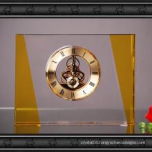 Rectangular Crystal Glass Clock Craft for Home Decoration
