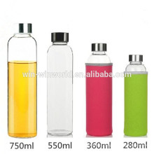 Chrismas Promotion Gift High Borosilicate Glass Bottles For Drink With Neoprene Cover