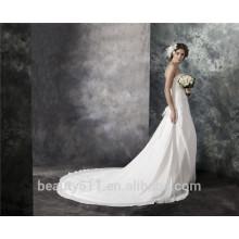 Vaina tren sin tirantes de la corte con encaje de gasa de encaje de encaje vestido de boda de cristal AS29302