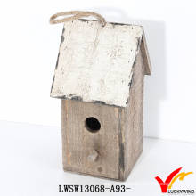 Farm Rope Hanging Small Recycle Wood Craft Bird House