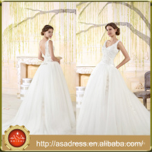 VIL-07 Elegant V-neck Beaded Lace Appliques Sleeveless Ball Gown Backless Wedding Dresses with Court Train