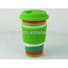 Keramische Kaffeetasse Silikon Deckel und Silikonband