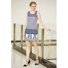 Rundhalsausschnitt Ärmelloses Sommer Ponte Kleid mit Border Printing in Multi Patterns