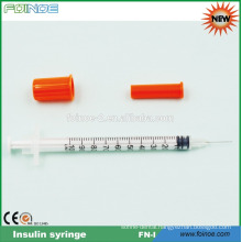 disposable plastic orange cap insulin syringe