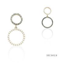 Korean Wholesale Sweet Rhinestone Crystal Pearl Gold Round Earrings Women Fashion Earrings